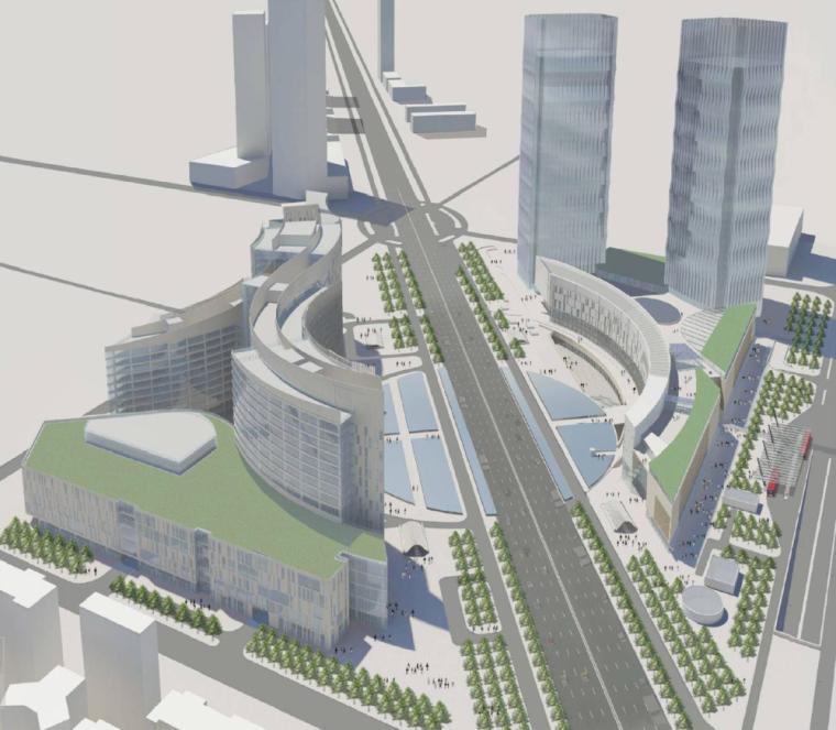 [深圳]高层现代大型商场与甲级高端办公楼综合体建筑设计方案文本