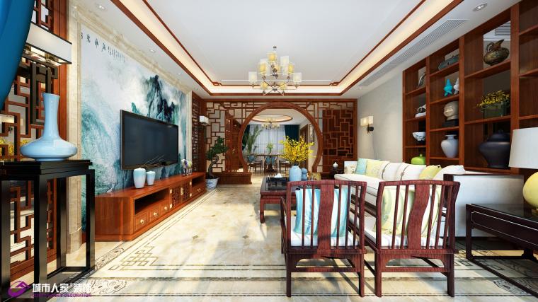 华山珑城装修效果图中式风格