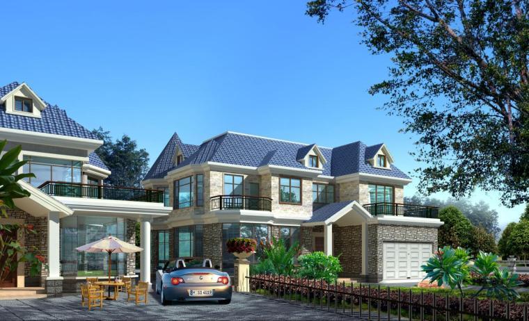 某二层别墅建筑结构方案图带效果图