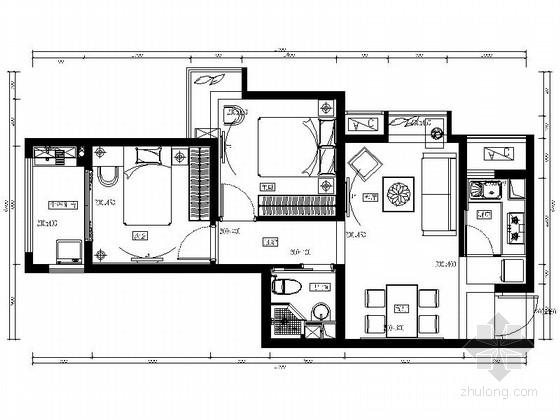 自然现代两居室样板房装修图(含效果)