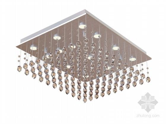 方形水晶吸顶灯3D模型下载