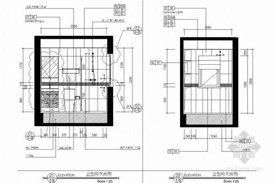 西南区繁华经济中心花园小区现代风格两居室装修图 卫生间立面图