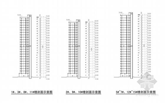 [福建]新中式风格住宅小区规划设计方案文本(含PSDCAD知名设计院)-新中式风格住宅小区剖面图