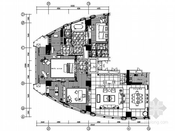 [厦门]现代简约酒店总统套房设计CAD施工图