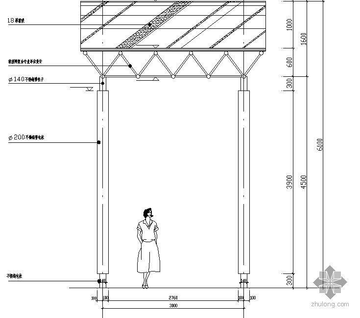 波形悬索廊施工图