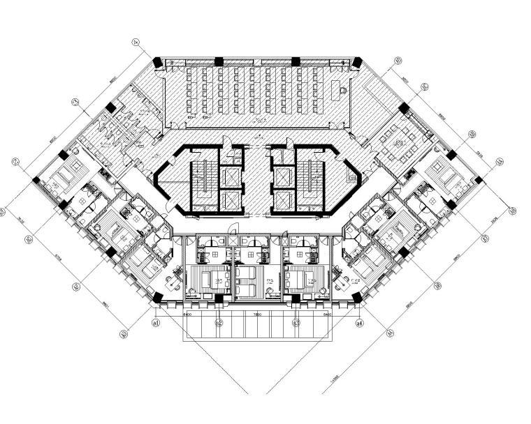 [云想衣裳]武汉光谷禧玥酒店客房层室内装修设计平面CAD+实景图