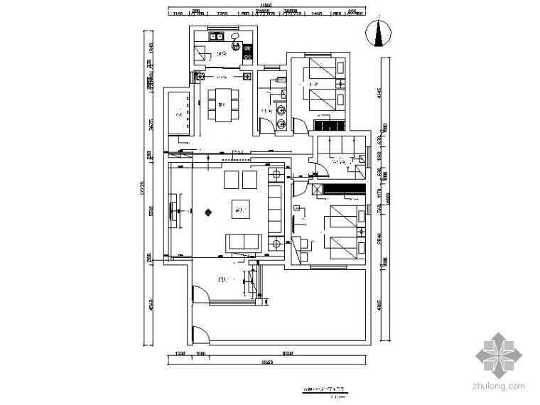 现代二室二厅装修图(含效果图)