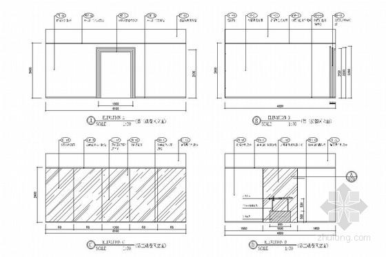 [重庆]全国连锁加盟特色火锅店室内施工图(含效果图) 就餐区立面图