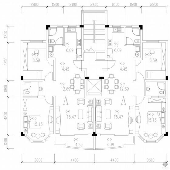 板式高层一梯二户户型图(102/102)