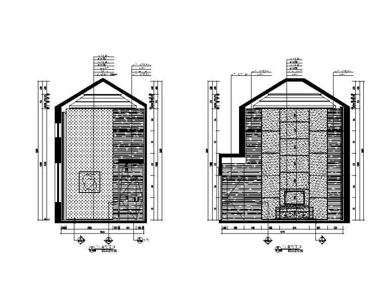 [广东]现代风格别墅样板间CAD施工图(含效果图)-【广东】现代风格别墅样板间CAD施工图(含效果图)立面图