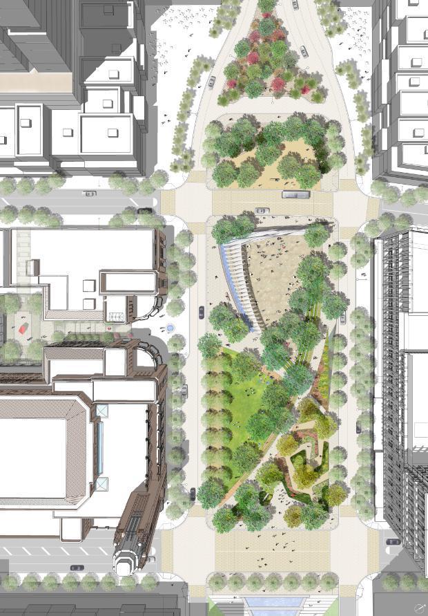 3套公园游园广场平面彩色平面图PSD分层素材