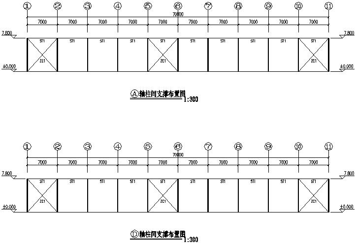 28X70m门式刚架厂房钢结构工程施工图(CAD,8张)