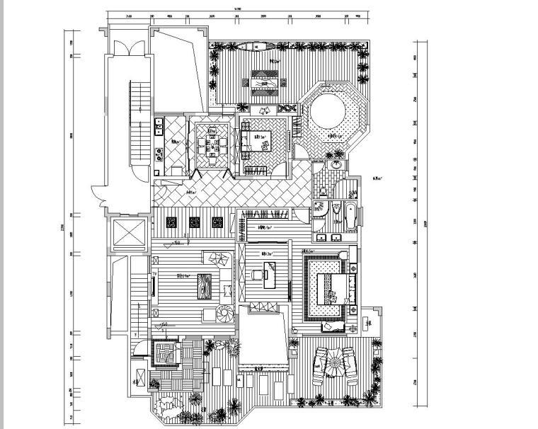 东南亚风格居住区室内施工图设计(CAD+效果图)