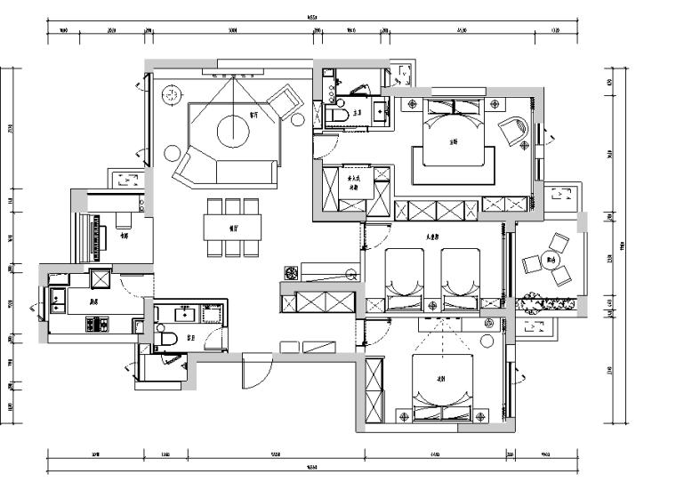 白金海岸|现代灰色简约住宅空间设计施工图(附效果图)