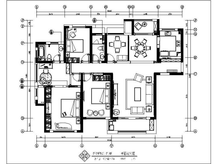 [长沙]欧式低调奢华四居室设计施工图(含效果图)_1