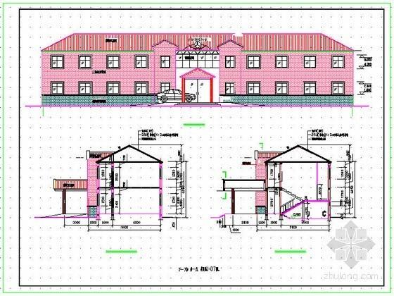 某两层砖混结构坡屋顶办公楼结构施工图