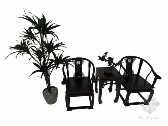 中式椅子3D模型下载