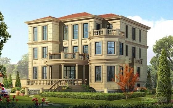 [大连]三层框架剪力墙结构别墅结构施工图(含建筑图)