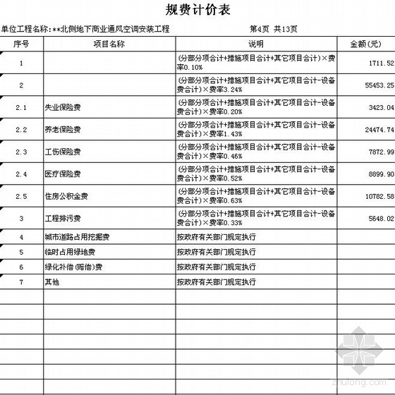 2010年深圳某酒店通风空调安装工程清单报价
