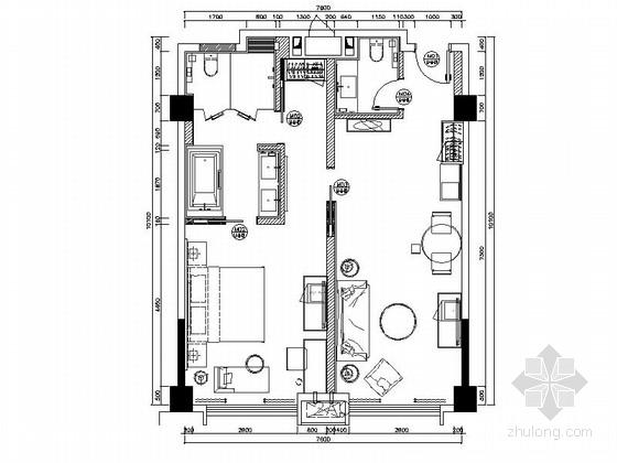 [锦阳]5星高档酒店双间套房室内设计CAD施工图(含效果图)