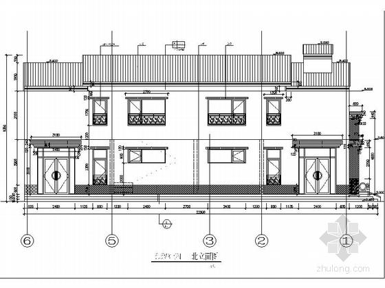 [河北]两层传统白墙黑瓦对称式四合院建筑设计施工图(含水暖电图纸)-两层传统白墙黑瓦对称式四合院建筑立面图