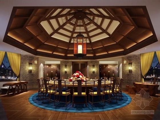 [北京]某公园美食会所包厢室内装饰设计方案效果图