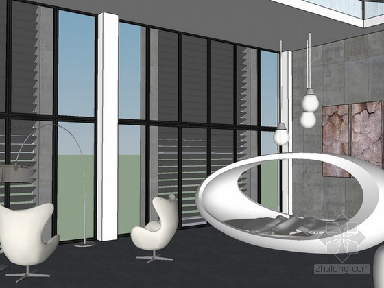 loft室内场景sketchup模型下载