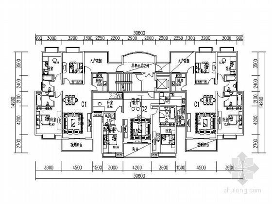 小高层一梯三带入户花园户型平面图(116、127平方米)