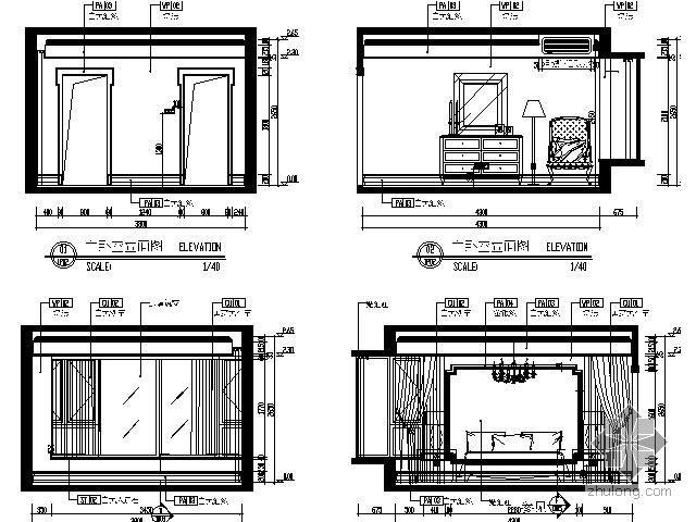 样板房主卧室立面图