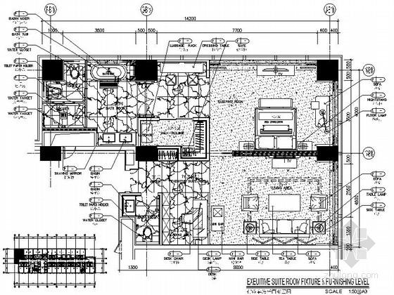 [云南]现代化五星级酒店行政套房室内装修CAD施工图(含效果)