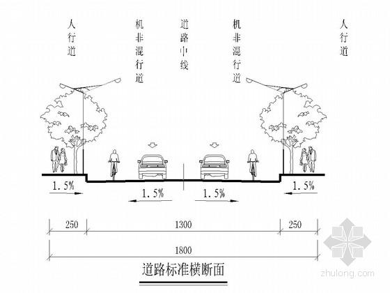 18m宽一块板形式城市道路施工图(61张 道路 交通工程)