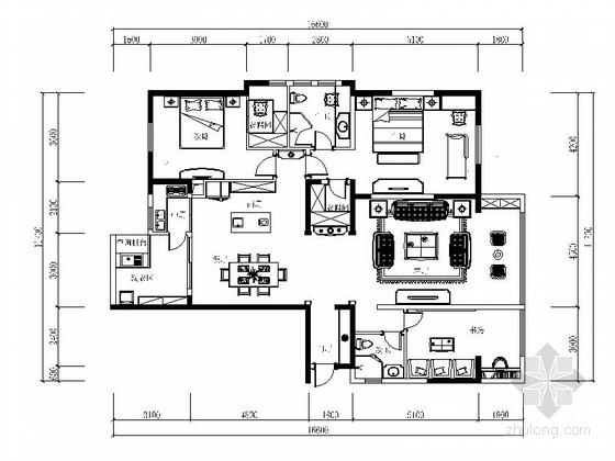 [成都]独特现代美式三居室样板间CAD装修施工图(含软装图)