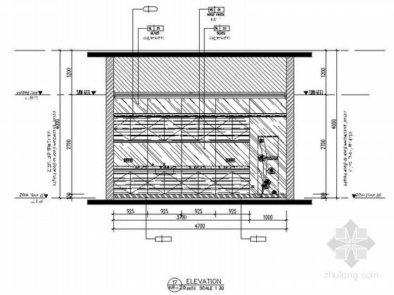 精品现代办公室室内装修施工图茶水间立面图