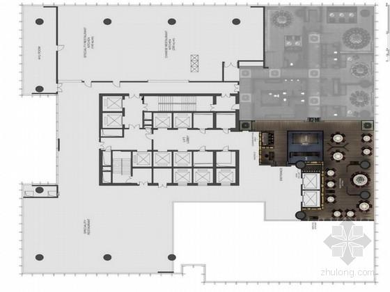 [成都]城市广场中心时尚简约风格高档酒店餐厅室内设计方案