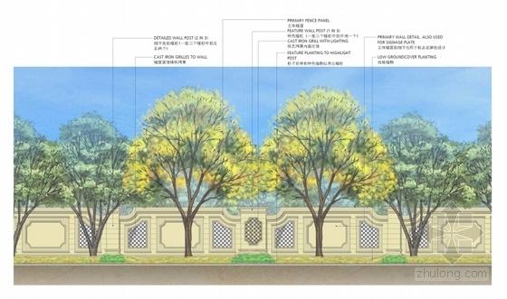 [上海]法式园林风情住宅小区景观方案设计-围墙立面图