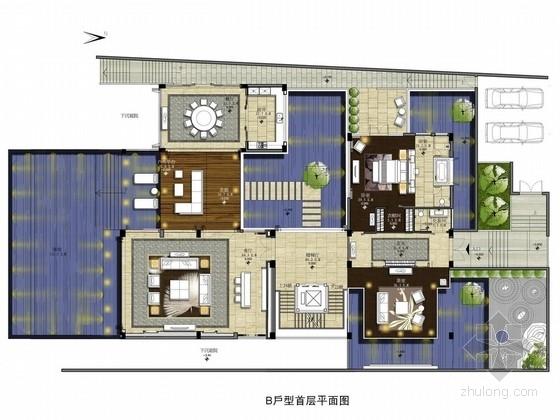 [海南]热带高档海滨型新中式双层别墅室内设计方案图