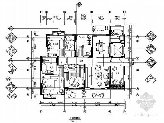 [广州]艺术灵动现代风格三室两厅家装施工图(含效果图)