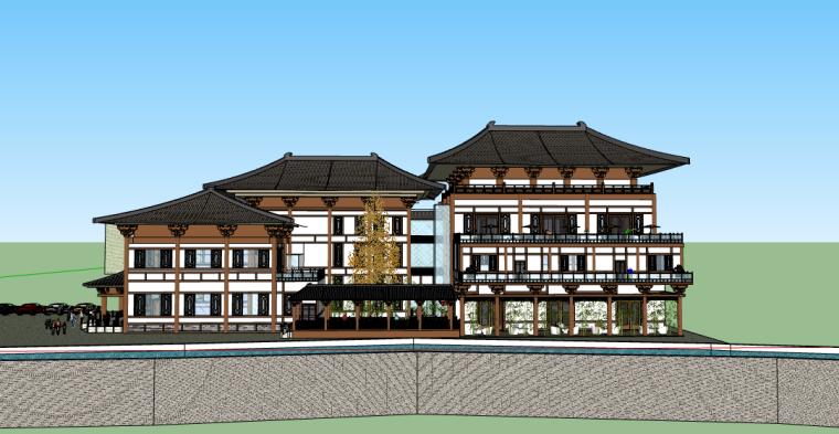 新中式风格城市酒店SU模型