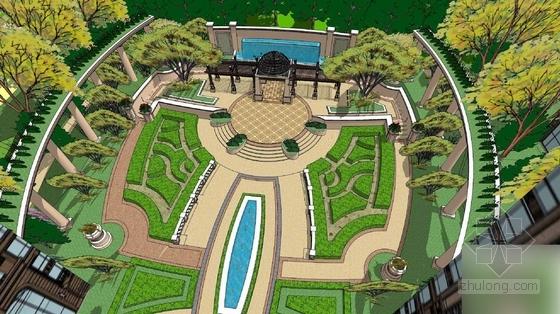 [成都]自然风格的规则式园林居住区景观规划设计方案图片