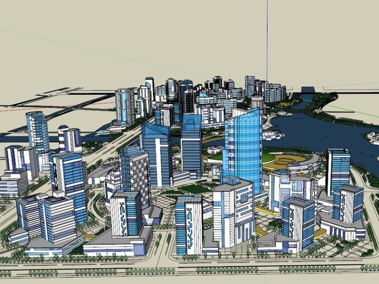 滨海城市规划SU模型