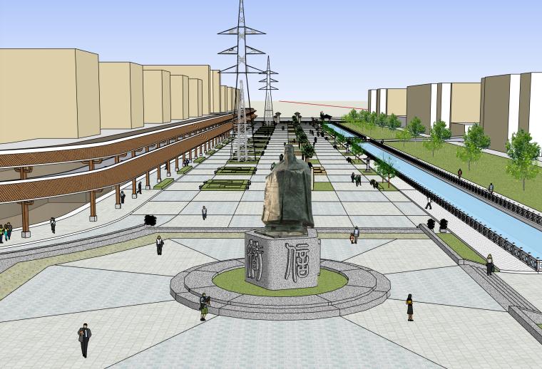 滨河步行街景观建筑SU模型