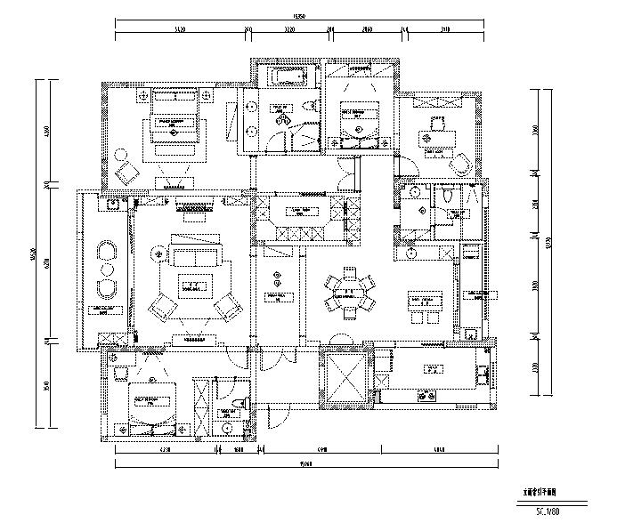 简约优雅美式风格样板间设计施工图(附效果图)_2