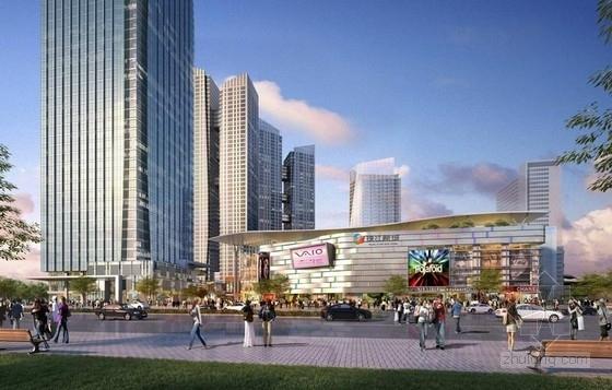 现代风格超高层甲级塔楼式办公楼建筑效果图
