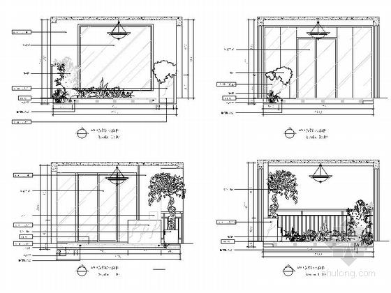 [重庆]时尚现代风格三居室室内装修施工图空中院馆立面图