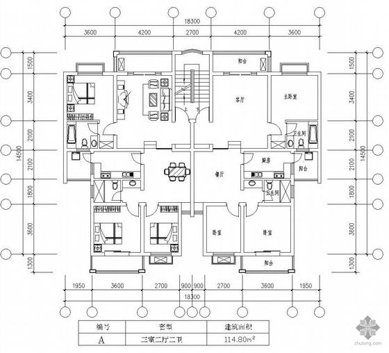 板式多层一梯二户三室二厅二卫户型图(115/115)