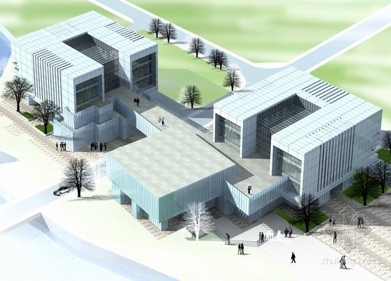 [贵州]现代风格4层图书馆建筑设计方案文本(含cad 三种方案)