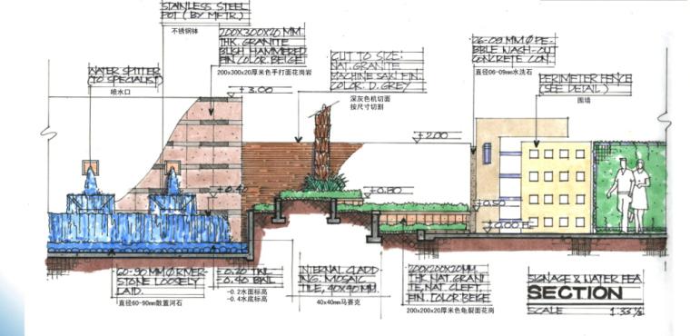 [海南]田园居住区景观方案修改及深化方案-标志墙剖面图