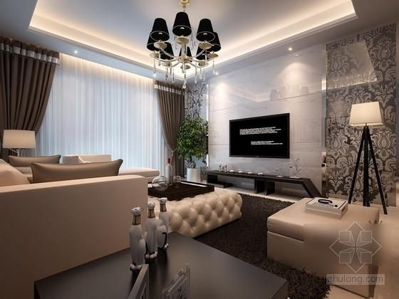 [杭州]两室两厅温馨小户型室内装修施工图(含效果图) 客厅效果图