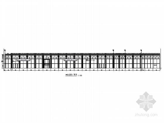 [河南]两层奔驰汽车4S店建筑施工图(甲级设计院)-两层奔驰汽车4S店建筑幕墙立面图