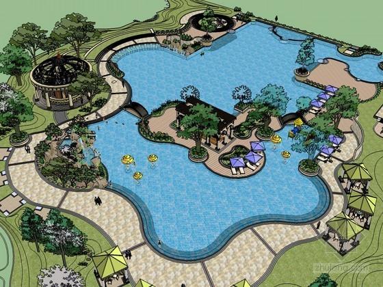 西式公园SketchUp模型下载